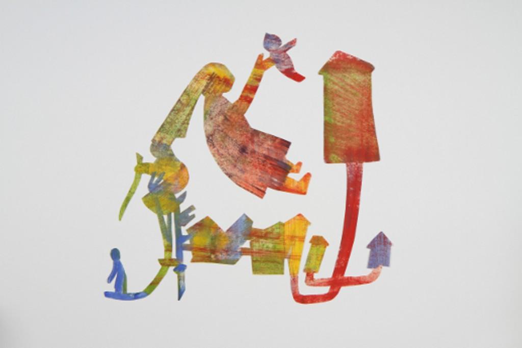 "Petra Klischat, Scherenschnitt ""Zuhause"", Tempera auf Papier, 2011. (Foto: P. Spengemann)"