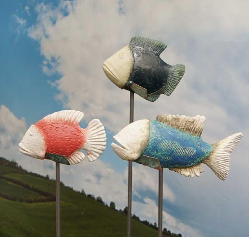 Dieter Blefgen, Fischskulpturen, Keramik, Stahl. (Foto und Copyright: Blefgen)