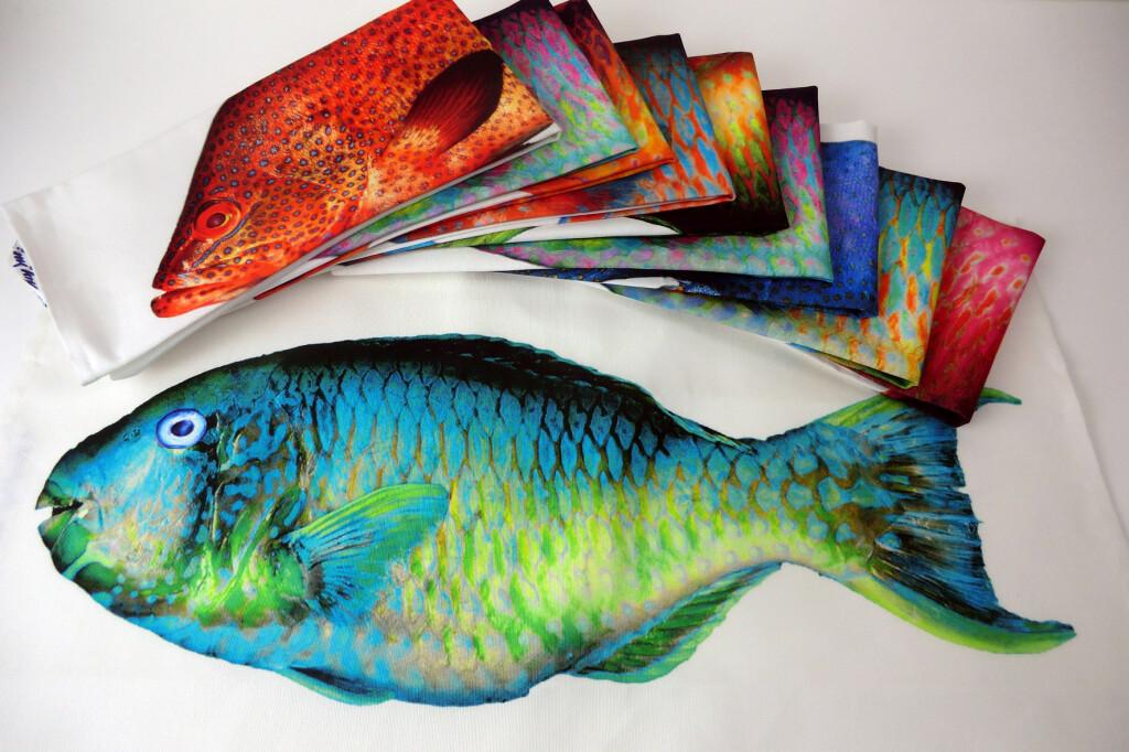 Heike Ehrath, Küchentücher Fischmotiv, Digitaldruck auf Halbleinen; (Copyright. Ehrath)